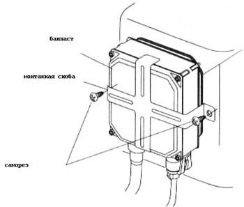Установка блоков розжига (балластов)