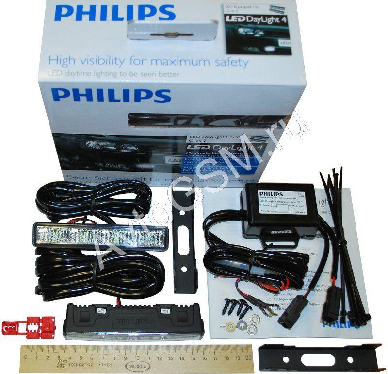 Дневные ходовые огни PHILIPS LED DayLight 4 - яркий свет, компактный дизайн, простая установка.